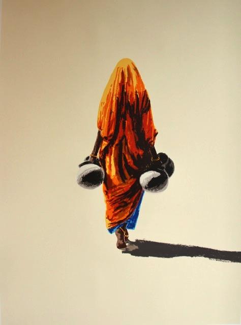 Indian Woman, Fired Earth Series 1   Hand drawn screenprint Size 73cm x 97cm