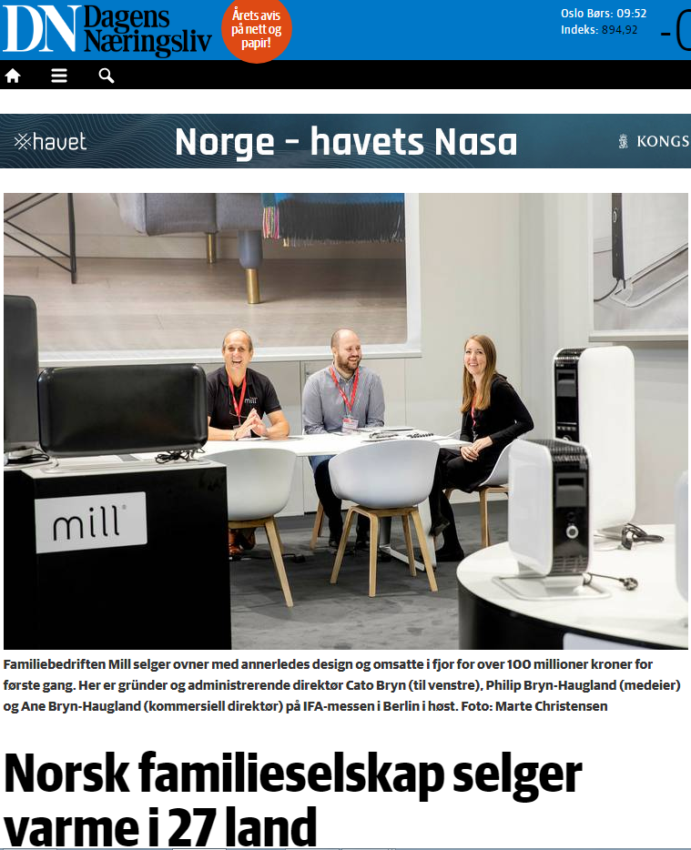 Leading financial newspaper in Norway, Dagens Næringsliv featuring the success of Mill.