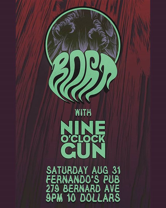 Kelowna! We're hitting @fernandospub this Saturday night for some tacos and riffs with along side @wearealsonamedbort! . . . #kelowna #nineoclockgun #bort #localmusic #okanagan #rock #rockandroll #bluesrock #riffs #stonerrock #heavyblues #hardrock #carronade #tacos