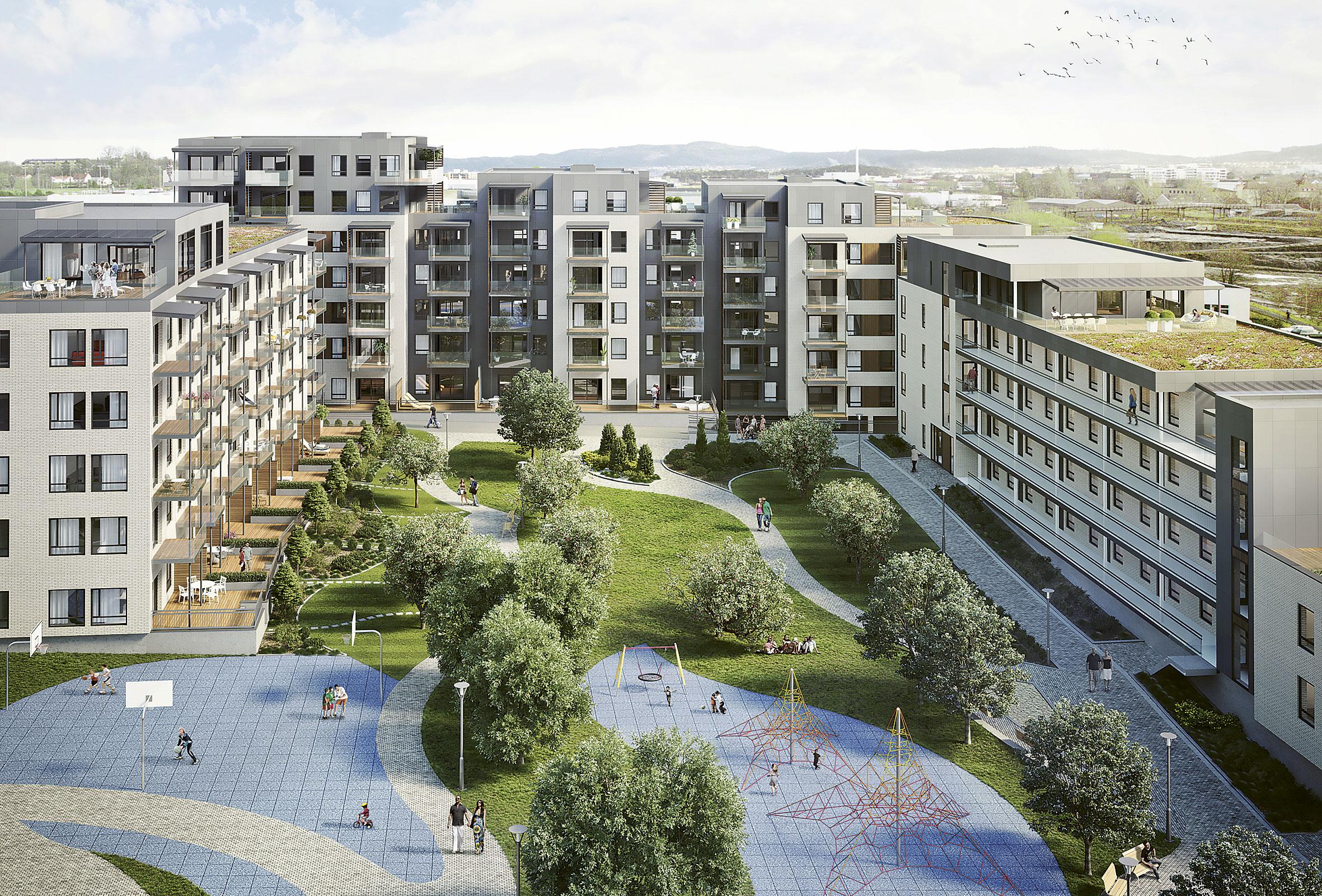 Ladebyhagen blir et helt nytt kvartal med 450 leiligheter på Lade i Trondheim. Foto: XR Visuell kommunikasjon (Ladebyhagen)