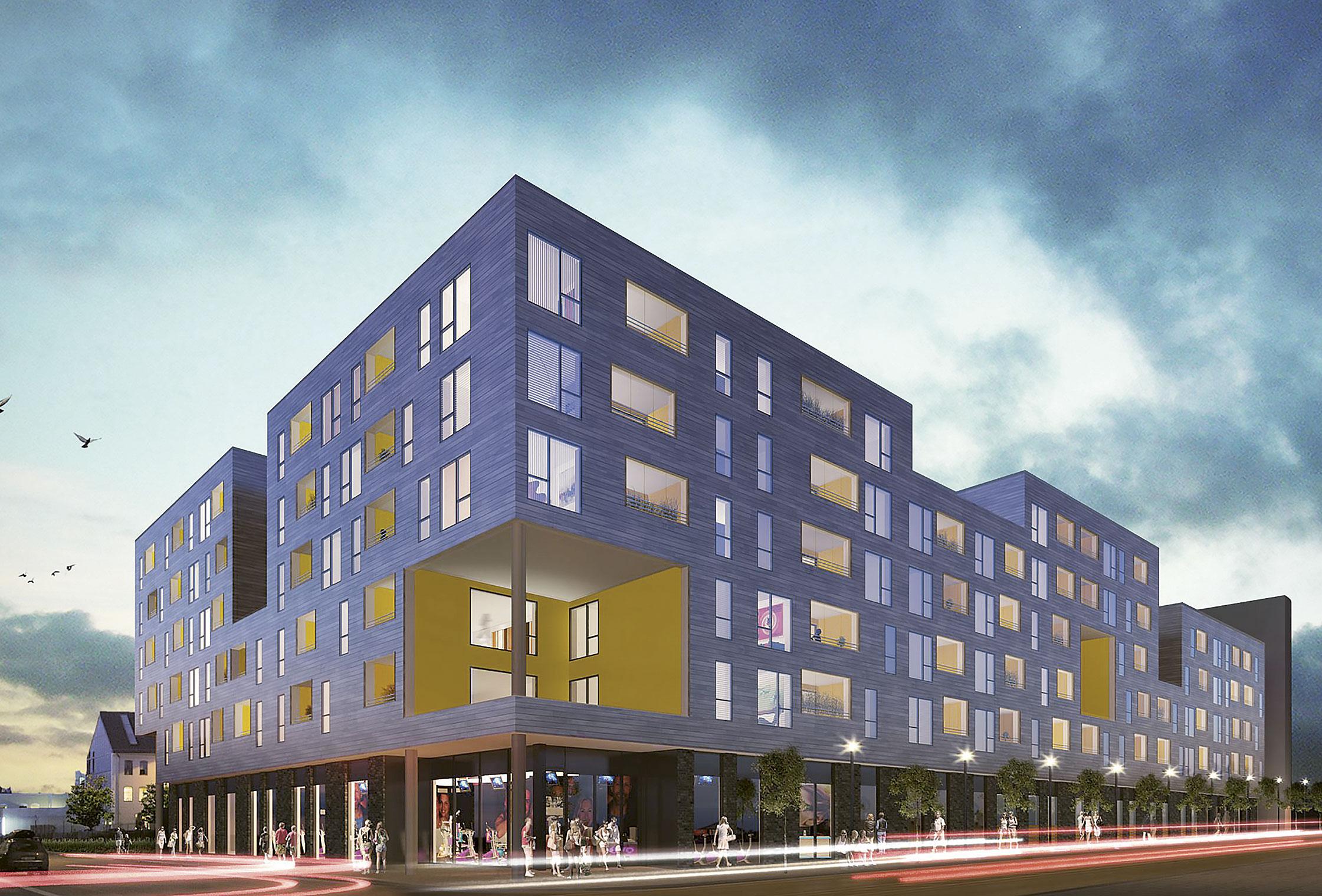 Østre bydel i Stavanger er boligprosjektet 5° Øst, som totalt skal bestå av 124 leiligheter. Foto: Link Arkitektur AS (5° Øst)