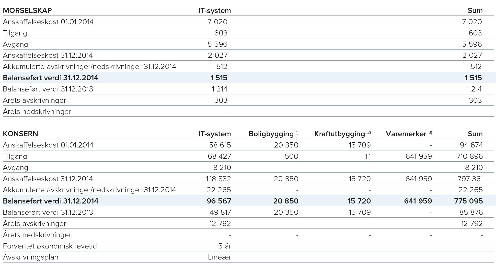 1) OBOS Nye Hjem AS eier en opsjon på å kjøpe 50 prosent av eiendommen Bjørnegårdssvingen 11-13, gnr 82, bnr 7 i Bærum kommune for kroner 35,0 millioner kroner innen 01.07.2026, dog senest innen det tidspunkt det foreligger endelig, offentlig godkjent reguleringsplan og utbyggingsavtale med Bærum kommune. For denne opsjonen har OBOS Nye Hjem AS betalt kroner 14,0 millioner kroner.  OBOS Nye Hjem AS har en opsjon på å kjøpe eiendommen gnr. 112, bnr 5, 8 og 30 i Bergen kommune. For denne opsjonen har OBOS Nye Hjem AS betalt 6,5 millioner kroner.       OBOS Nye Hjem AS har en opsjon på å kjøpe en tomt på Hjemseng i Tønsberg. For denne opsjonen har OBOS Nye Hjem AS betalt 0,4 millioner kroner.     2) Tyngdekraft AS (i OBOS Energi konsern) eier 100 prosent av aksjene i Kvitno Kraft AS og Bråberg Kraft AS. Kvitno Kraft AS og Bråberg Kraft AS har konsesjon til å utvikle og bygge småvannkraftverk.       3) Merverdi på varemerker ble etablert i forbindelse med morselskapets kjøp av alle aksjene i BWG Homes AS i 2014. Verdi av varemerker avskrives ikke, men testes årlig for verdifall. Er det indikasjoner på verdifall beregnes gjenvinnbart beløp, og dersom dette er lavere enn bokført verdi gjøres nedskrivning til gjenvinnbart beløp.