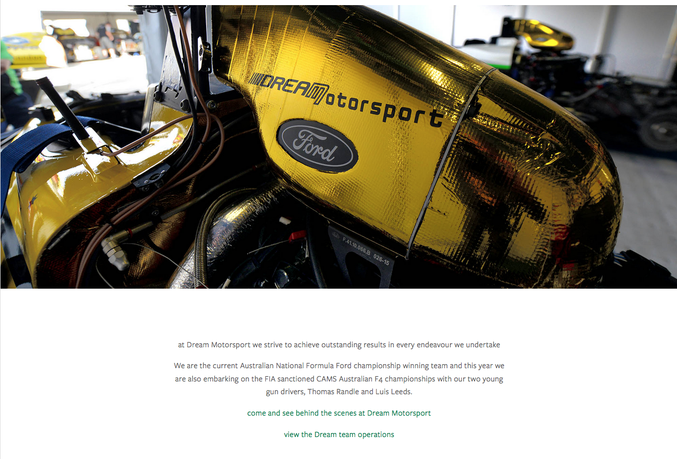 website of Australian Formula Ford champions, DREAM MOTORSPORT designed and built by PLM