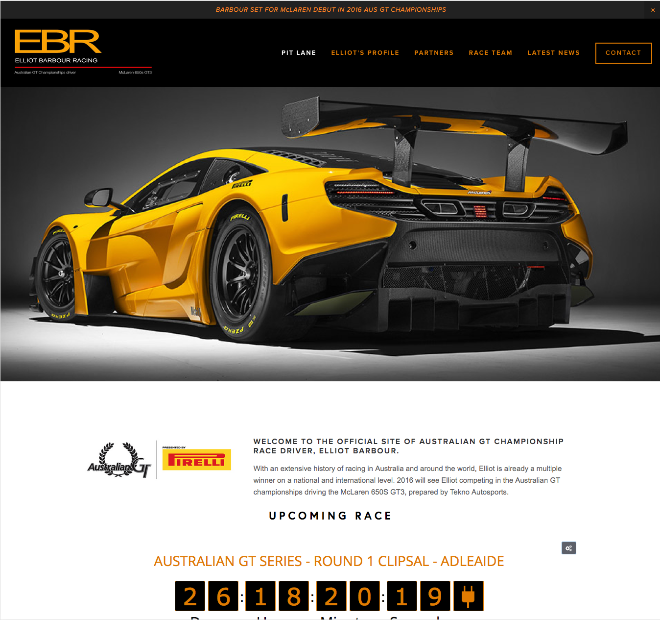 website of Australian GT McLaren driver ELLIOT BARBOUR is designed, installed and updated by PLM