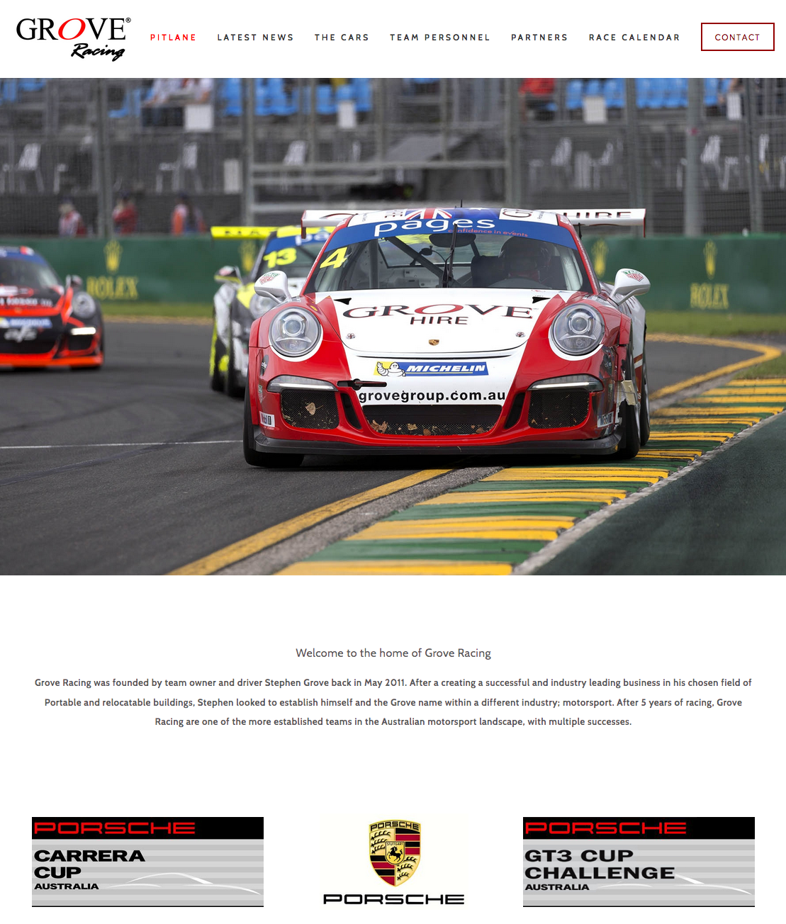 Porsche championship winning team Grove Racing's website designed and installed by PLM