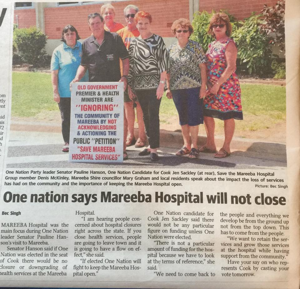 Source:  Jen Sackley  Pauline Hanson's One Nation, Candidate for Mareeba