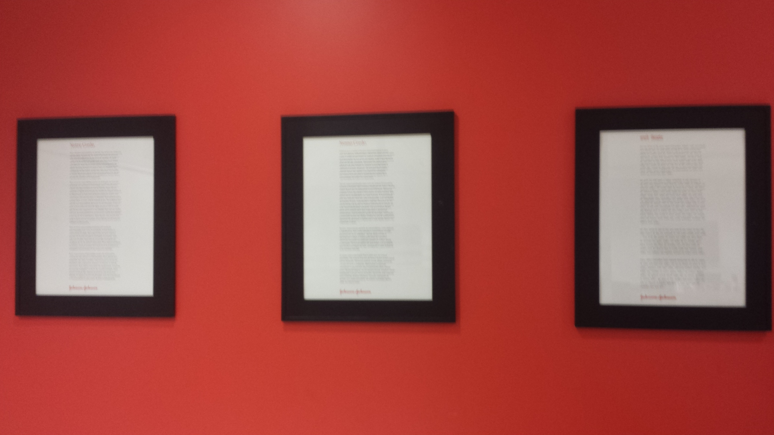 Every room in Johnson & Johnson has the Credo posted on the wall. The Credo is used for guiding the decision making of all employees. It has existed since 1943 and can be seen in all languages.