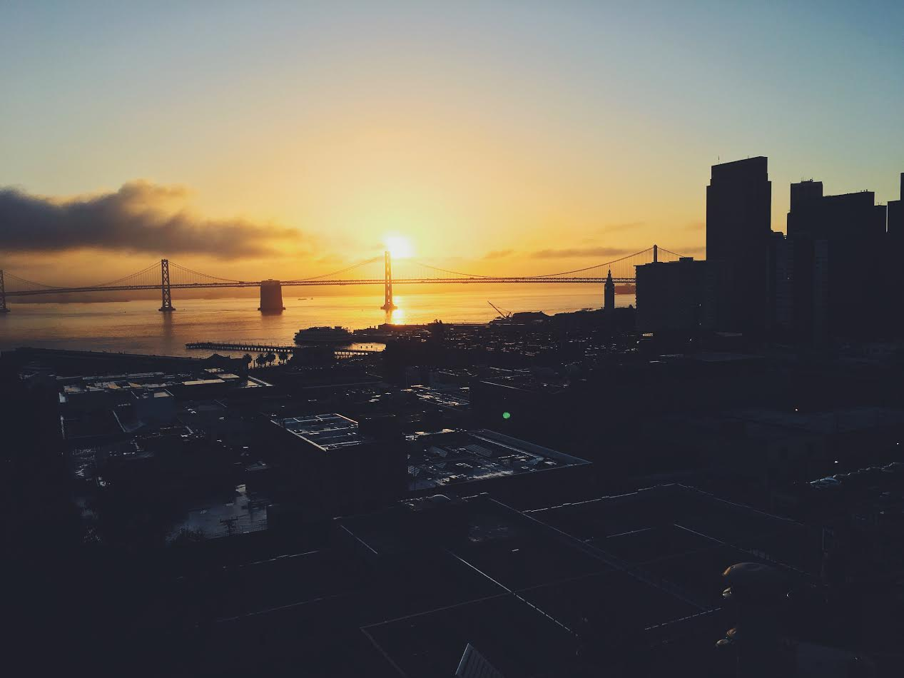 View of the sunrise and San Francisco Bay Bridge