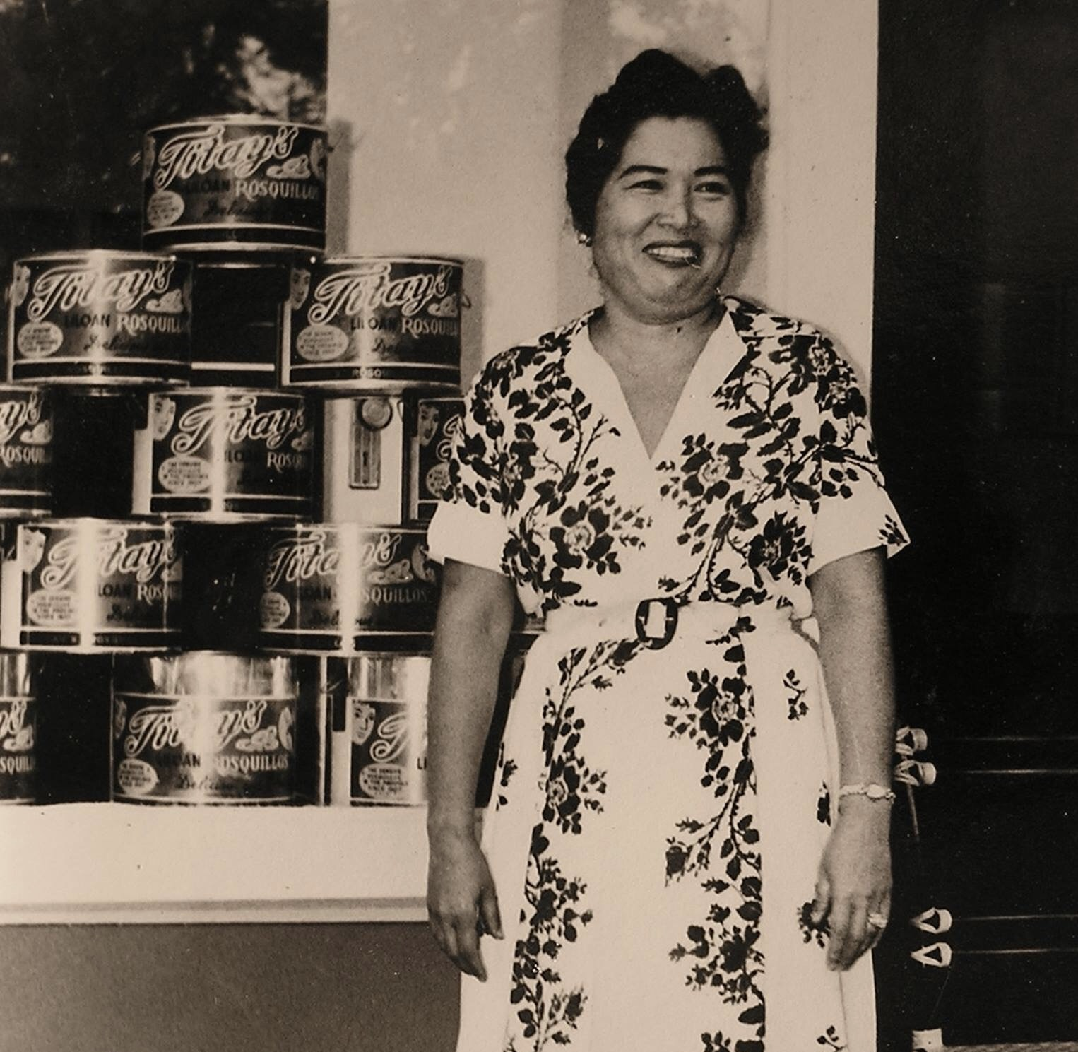 Corazon B. Frasco in front of Titay's original store in Liloan. ca 1960s