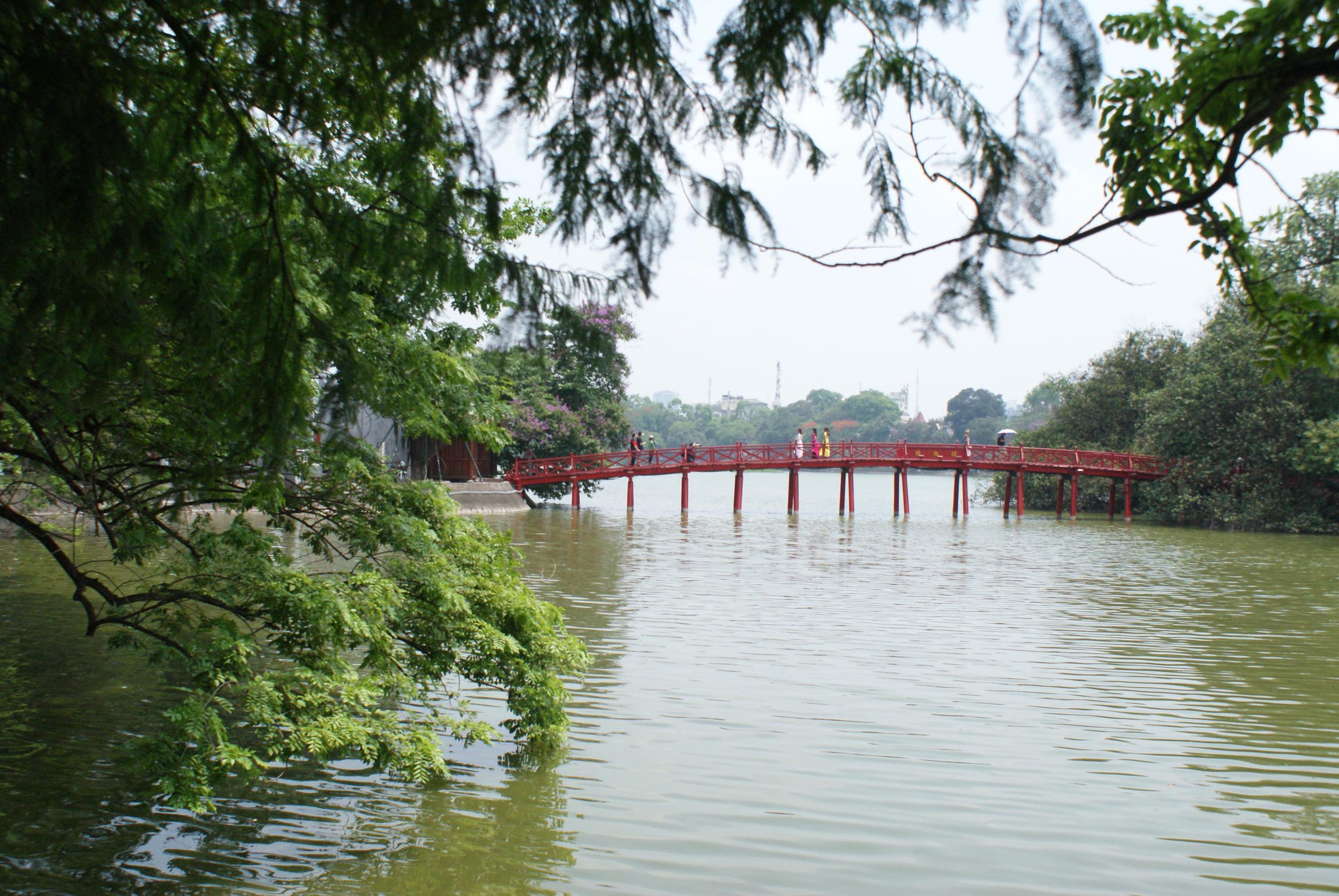 The infamous red bridge of Hanoi.