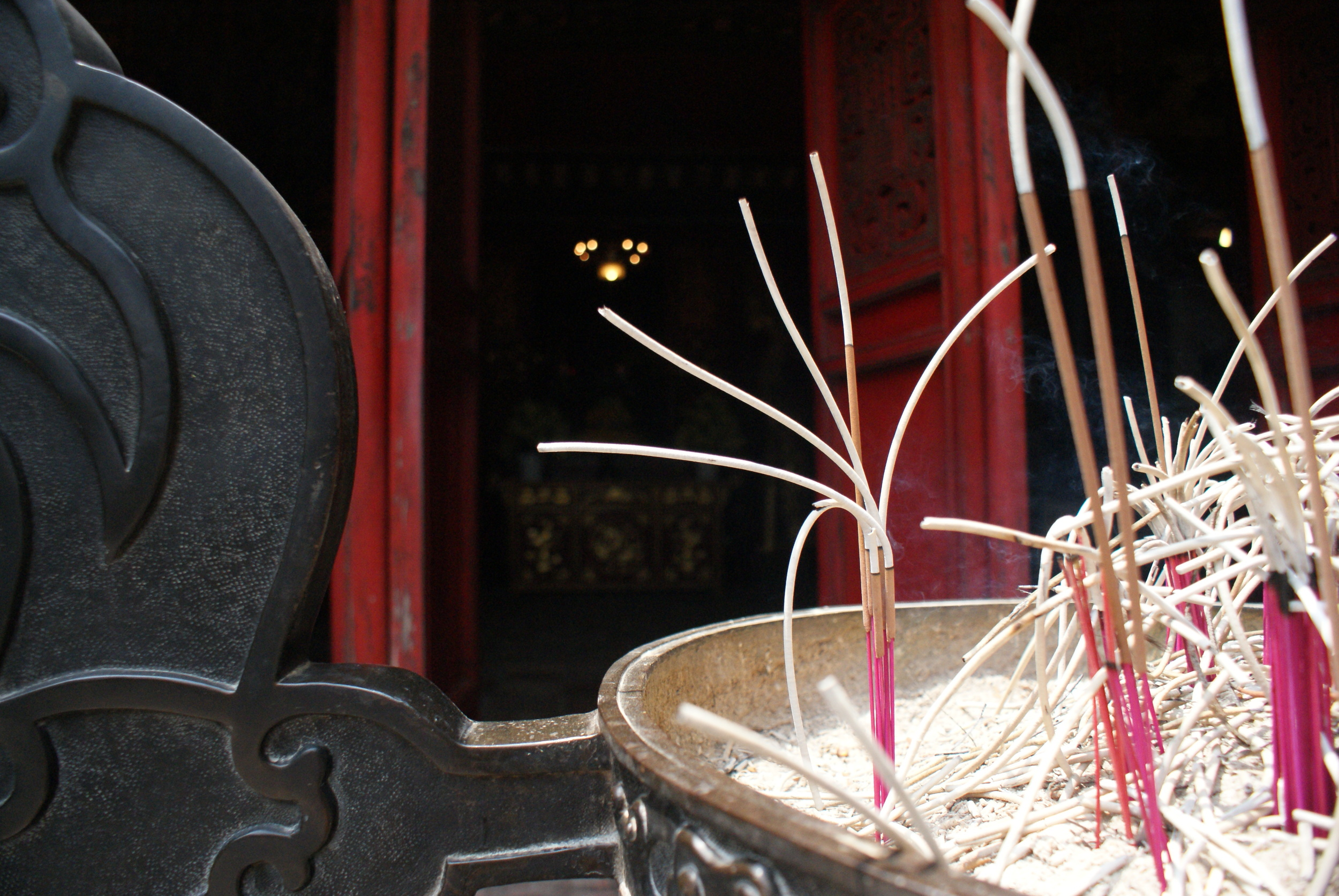 Burned incense at the Ngoc Son Temple.
