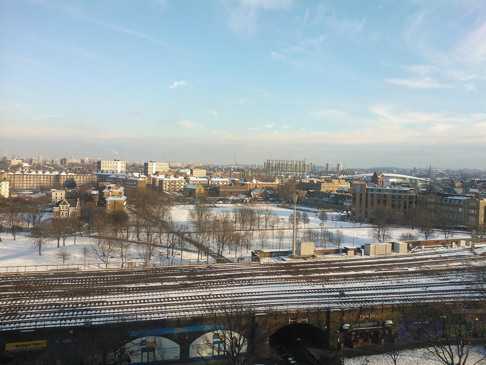 The Gardens in snow from a tall building ( photo Diane Lawly)