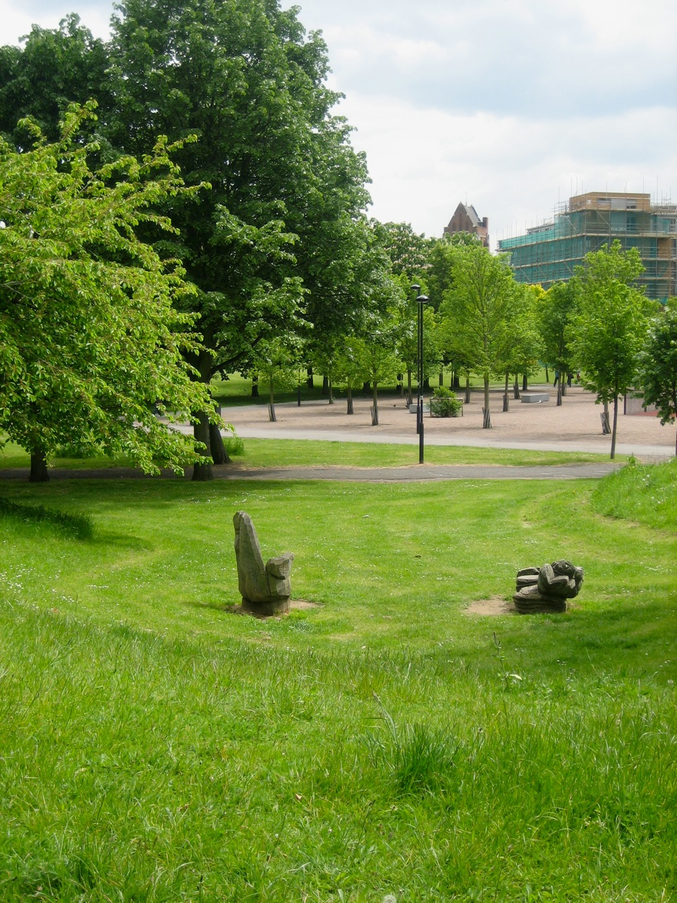 Looking down the mounds onto Friedel Buecking sculpted wood chairs