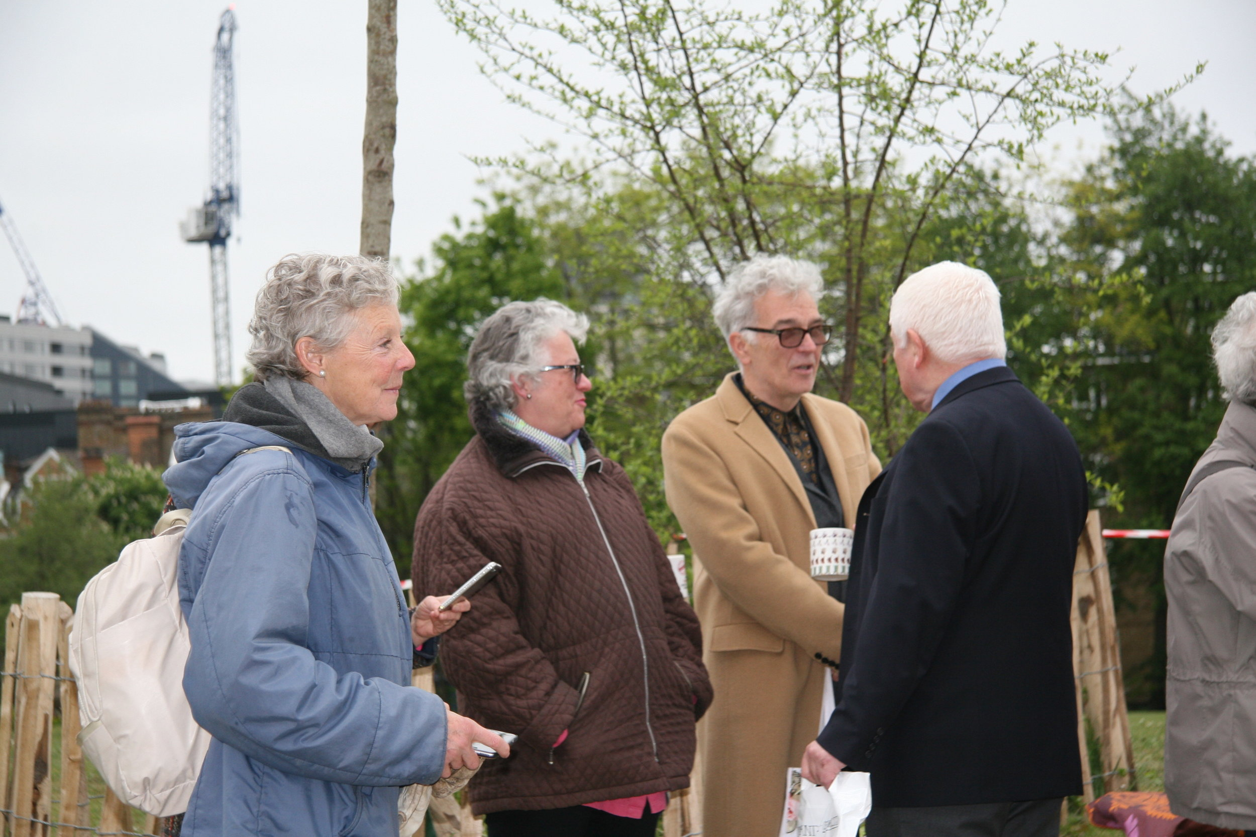 Theresa Hoare of Lambeth parks Development, Kate Pode, Eamonn McMahon talk to Sean Rafferty