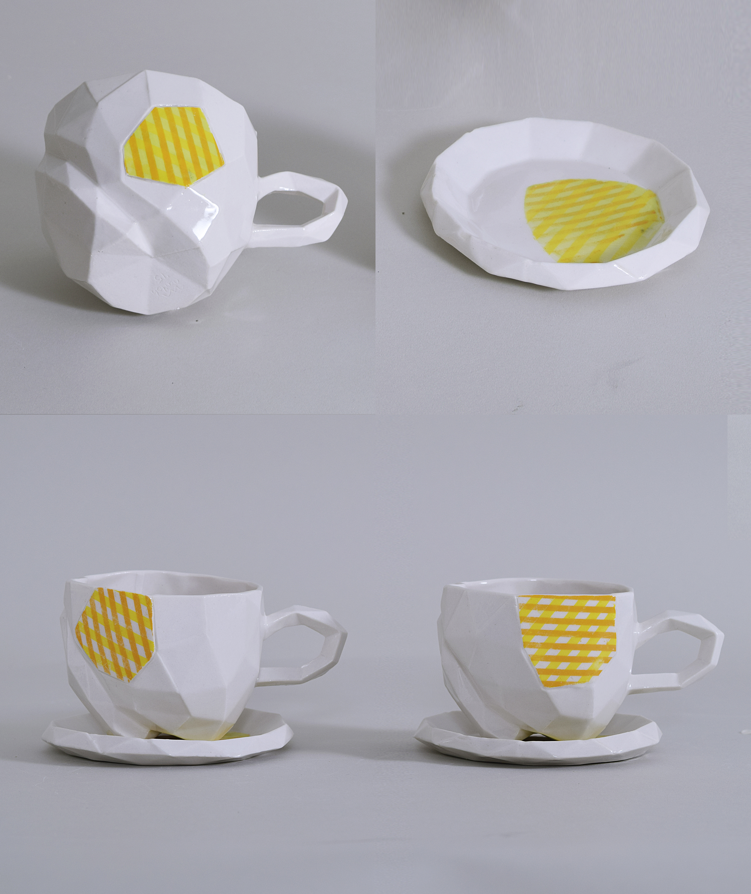 peach cups and saucers with stripes