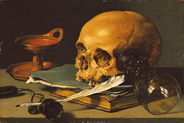 """"""" Still Life with a Skull and a Writing Quil l"""", Pieter Claesz, 1628"""