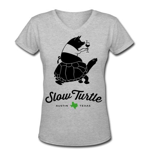 women-s-slow-turtle-logo-w-pig-women-s-v-neck-t-shirt-2.jpg