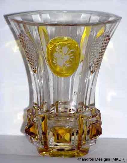 19th Century Bohemian Crystal Glass restored with resin