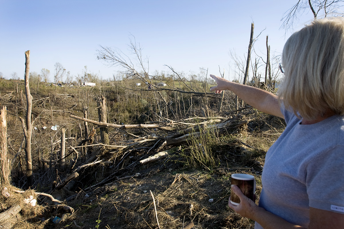 Shirley looks out at the destruction from the tornado.