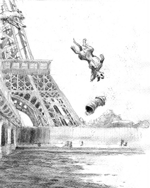 And here is a view of Victor falling off the bridge that is different from the one I used in the book.