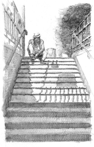 A sketch I did coming out of the subway- where I saw a man tying his shoe. Anything makes for a good sketchbook subject.