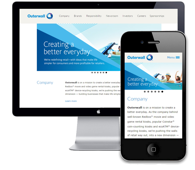 Responsive Web Design  / Every page on Outerwall.com was optimized for mobile and tablet users.