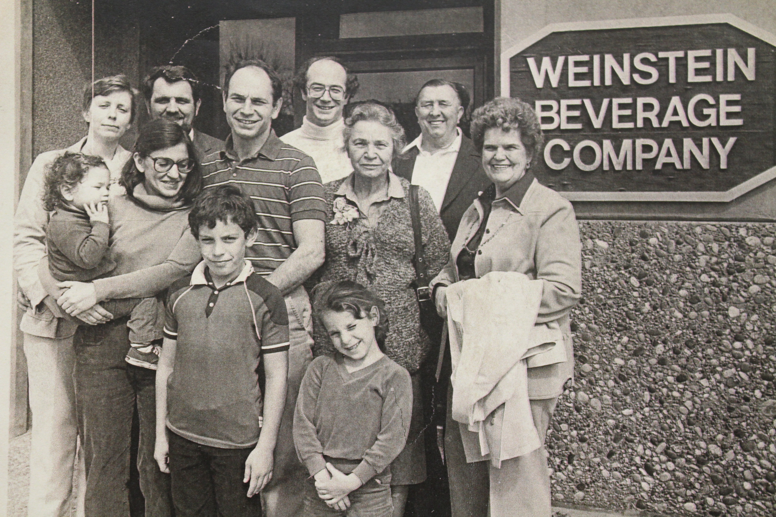 Pat Weinstein, Susan Landon, Eileen Weinstein, family, and employees of Weinstein Beverage Company.