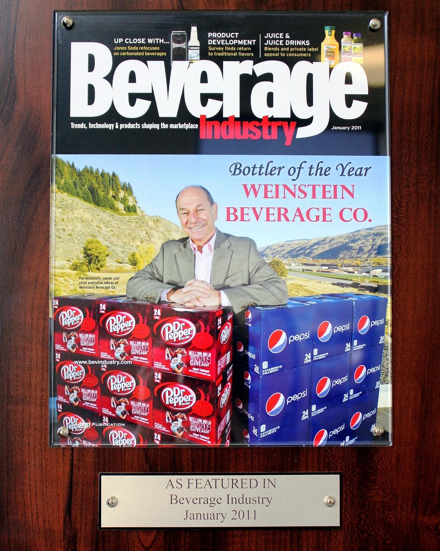 National Award presented by Beverage Industry Magazine to Pat Weinstein and Weinstein Beverage Company