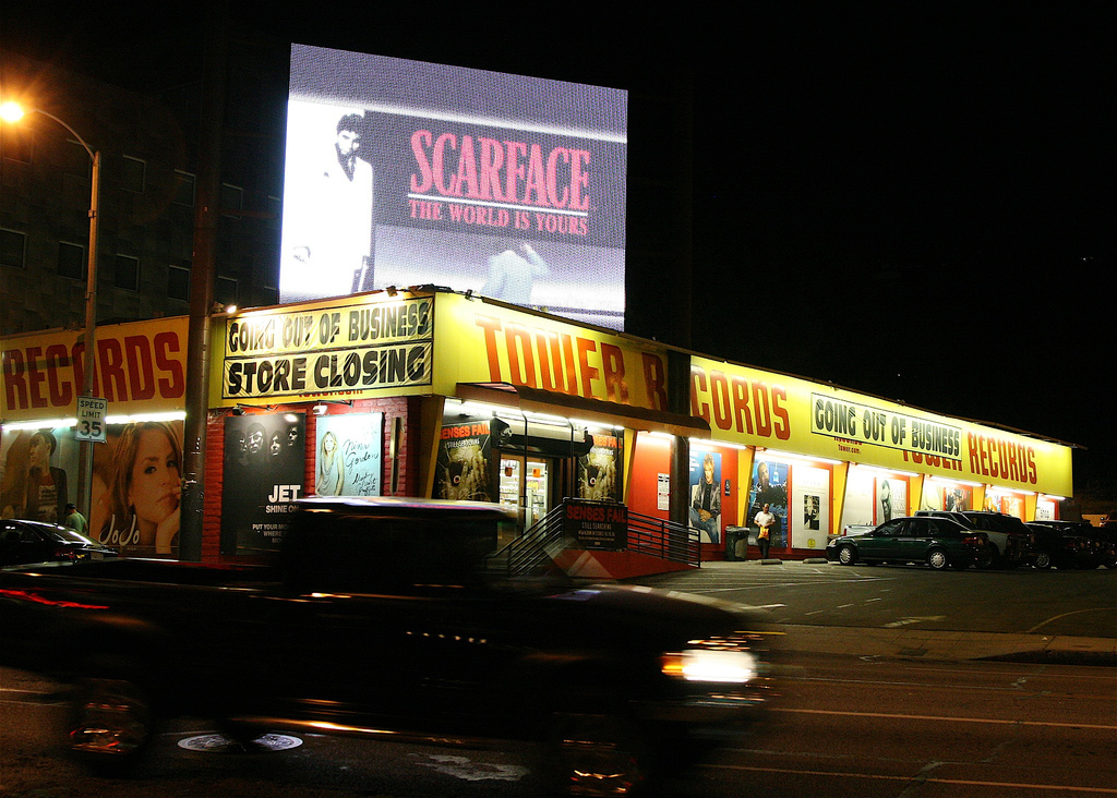 Tower Records Sunset Boulevard (Photo by Flickr user: DJ Whelan)