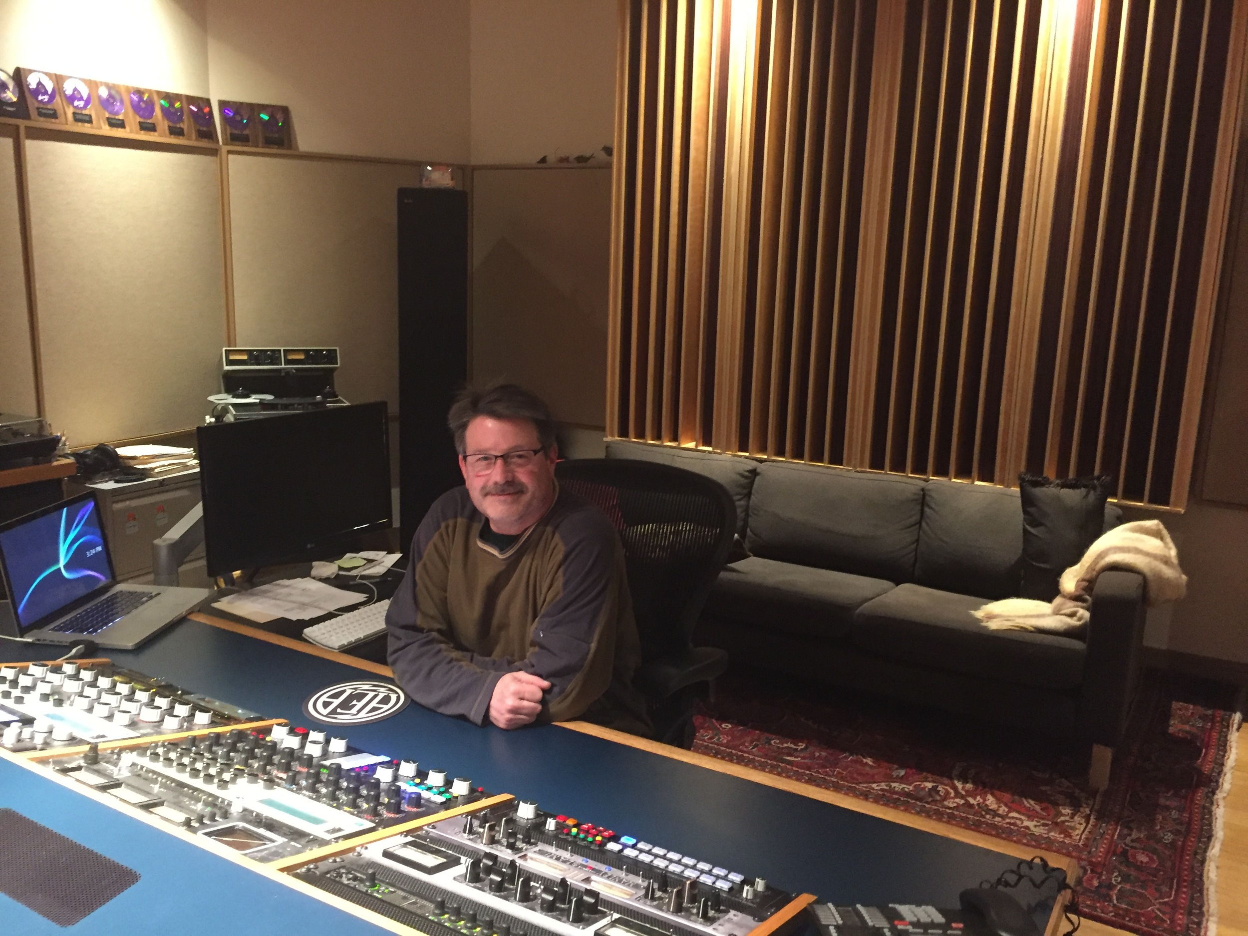 Randy LeRoy at the mastering board in Suite A, Airshow Mastering, Takoma Park