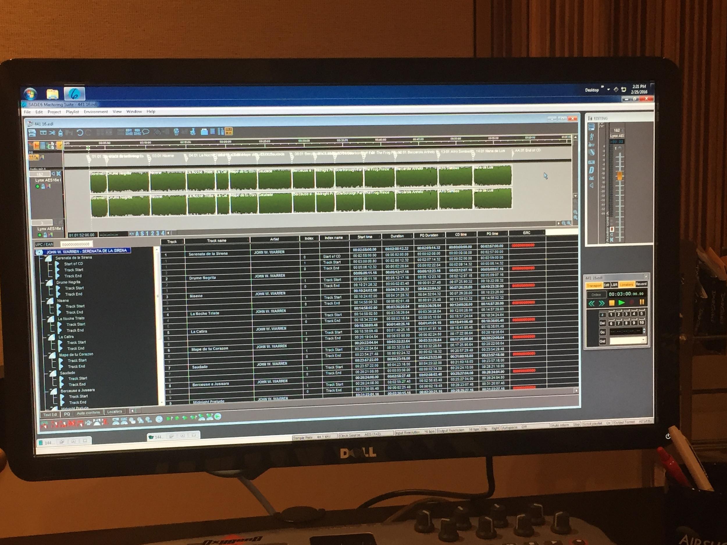 Mastered tracks for   Serenata de la Sirena