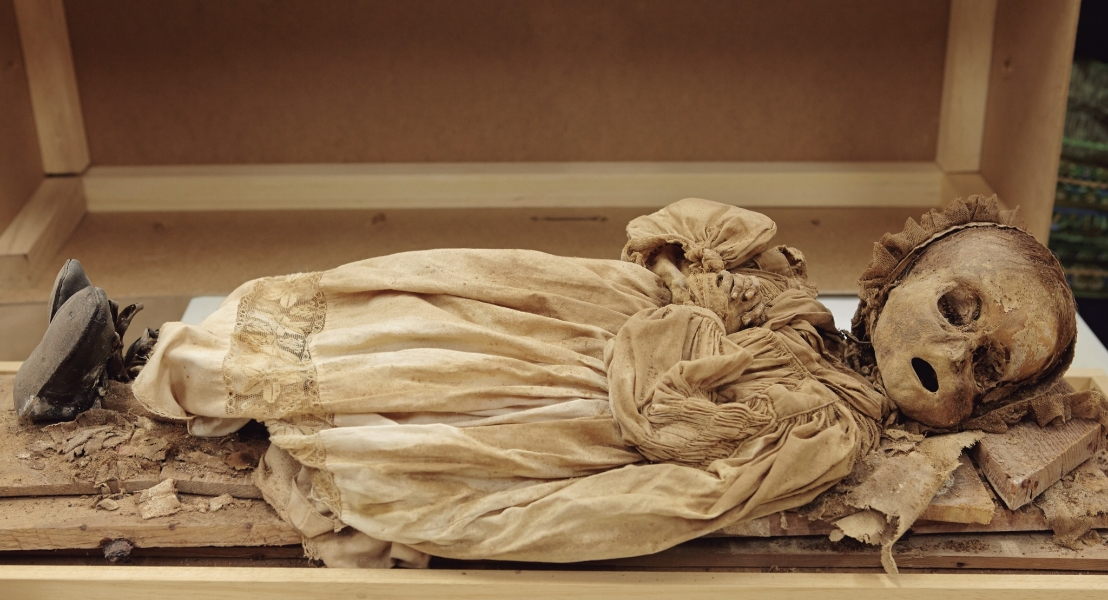 Mummified remains of an infant from the crypt. Photo: Javier Balaguer, Jaime de Linos, and Gonzalo Tapia.