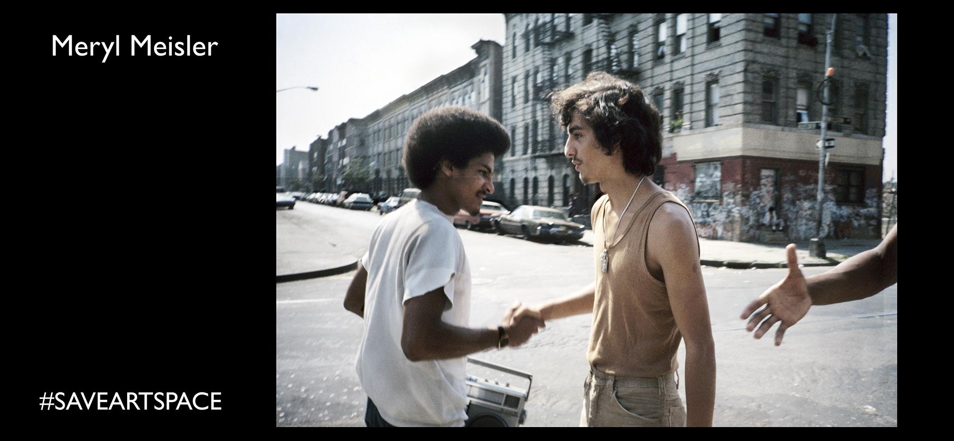 """Meryl Meisler, Handshake Wilson Avenue @ Bleecker Street, Bushwick, September 1982Series: Bushwick in the 80sCover image of Meryl's book """"A Tale of Two Cities: Disco Era Bushwick"""" (Bizarre Publishing 2014)"""