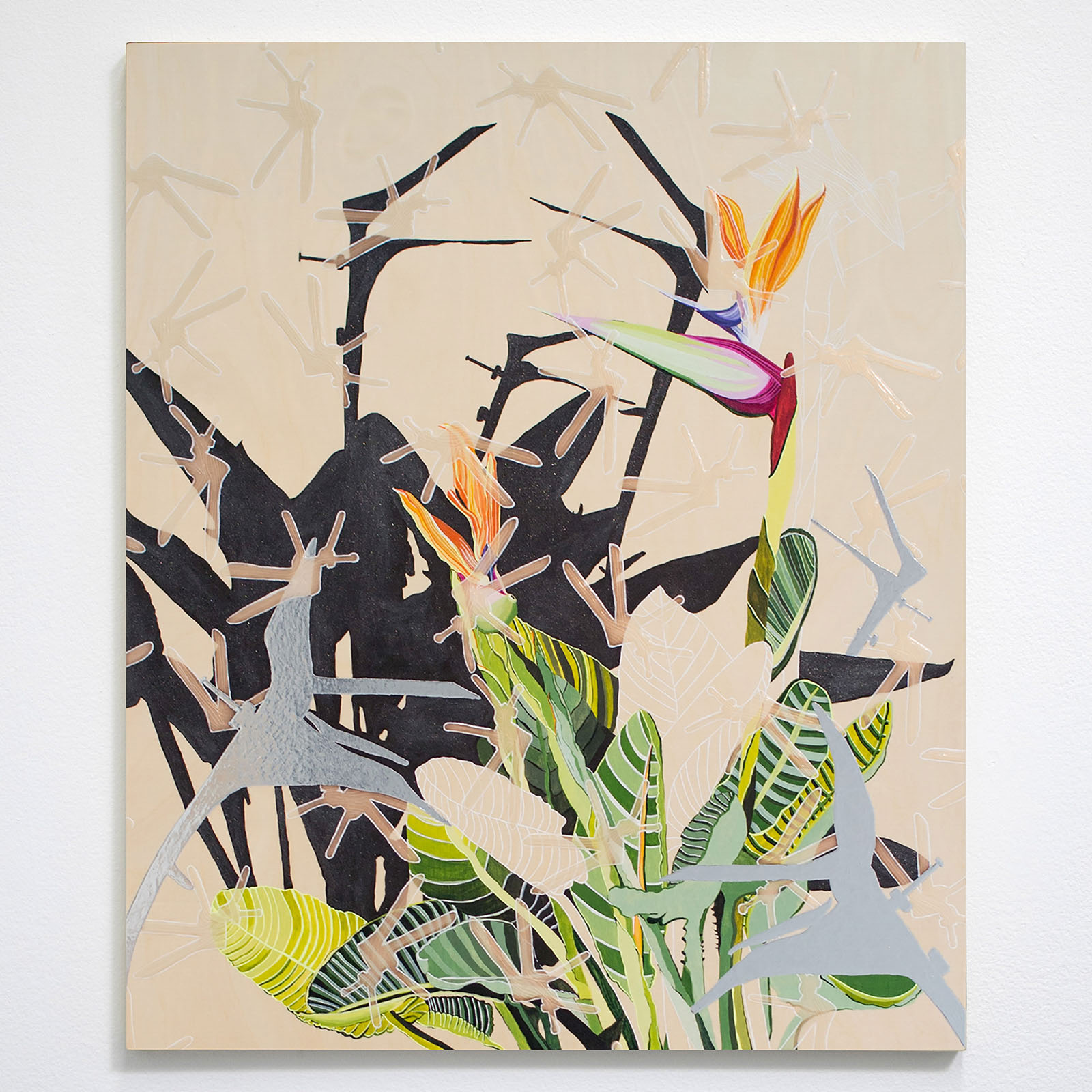 Tanya Thoma  Specula for the Birds to Look at,  Wood Panel, acrylic paint, ink, various acrylic mediums, 2018