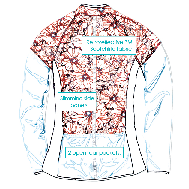 Features of the SassyCyclist Jersey- Backside