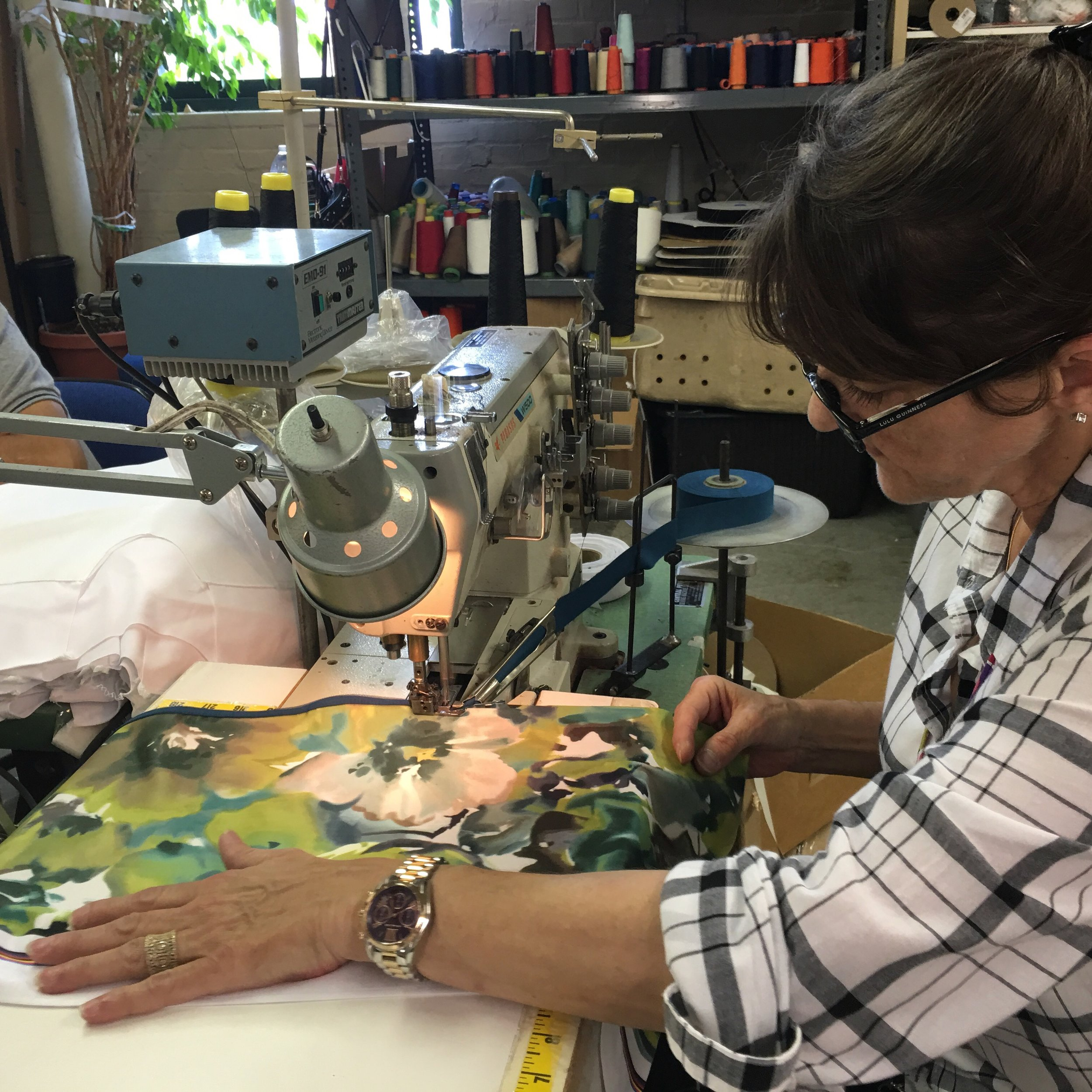 Sewing SassyCyclist jerseys at Factory