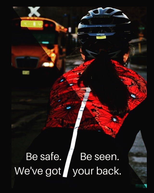 To enhance the visibility of the cyclist from the rear, we sew a long strip of 3M Scotchlite™ retroreflective fabric on the back of every jersey.When illuminated by headlights, the material brightly reflects light back to the original source to reach the car driver's eye.