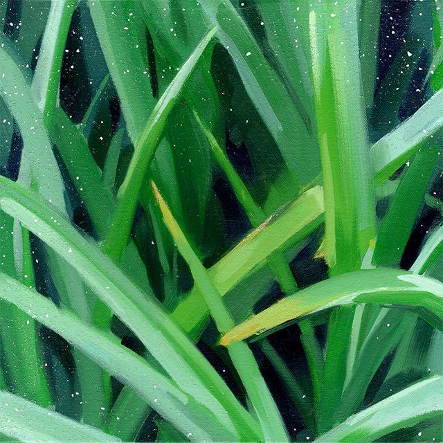 """Mother's Day"", 2019, acrylic, oil, gold leaf, diamond dust on canvas, 12"" x 12"" • #oilpainting #flora #painting #diamonddust"