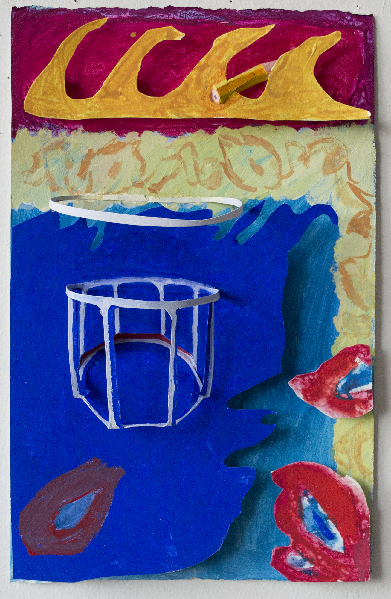 Still Life with Glass and Pencil, 2016, gouache on paper construction, 12 x 7.5 x 3.5 inches