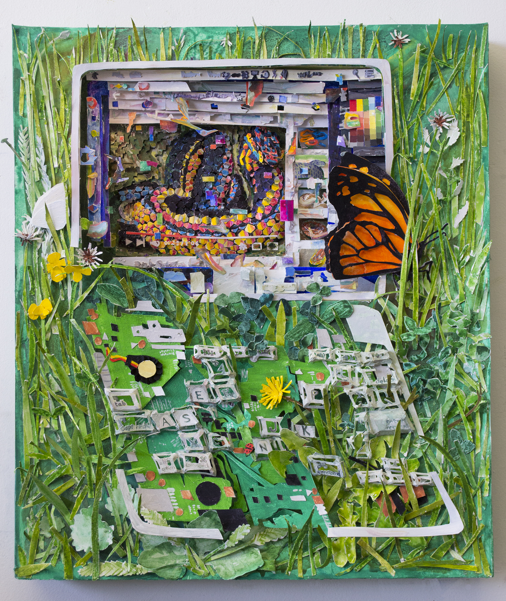 Return of the Garden, 2018, gouache on paper construction, 21 x 18 x 4.5 inches