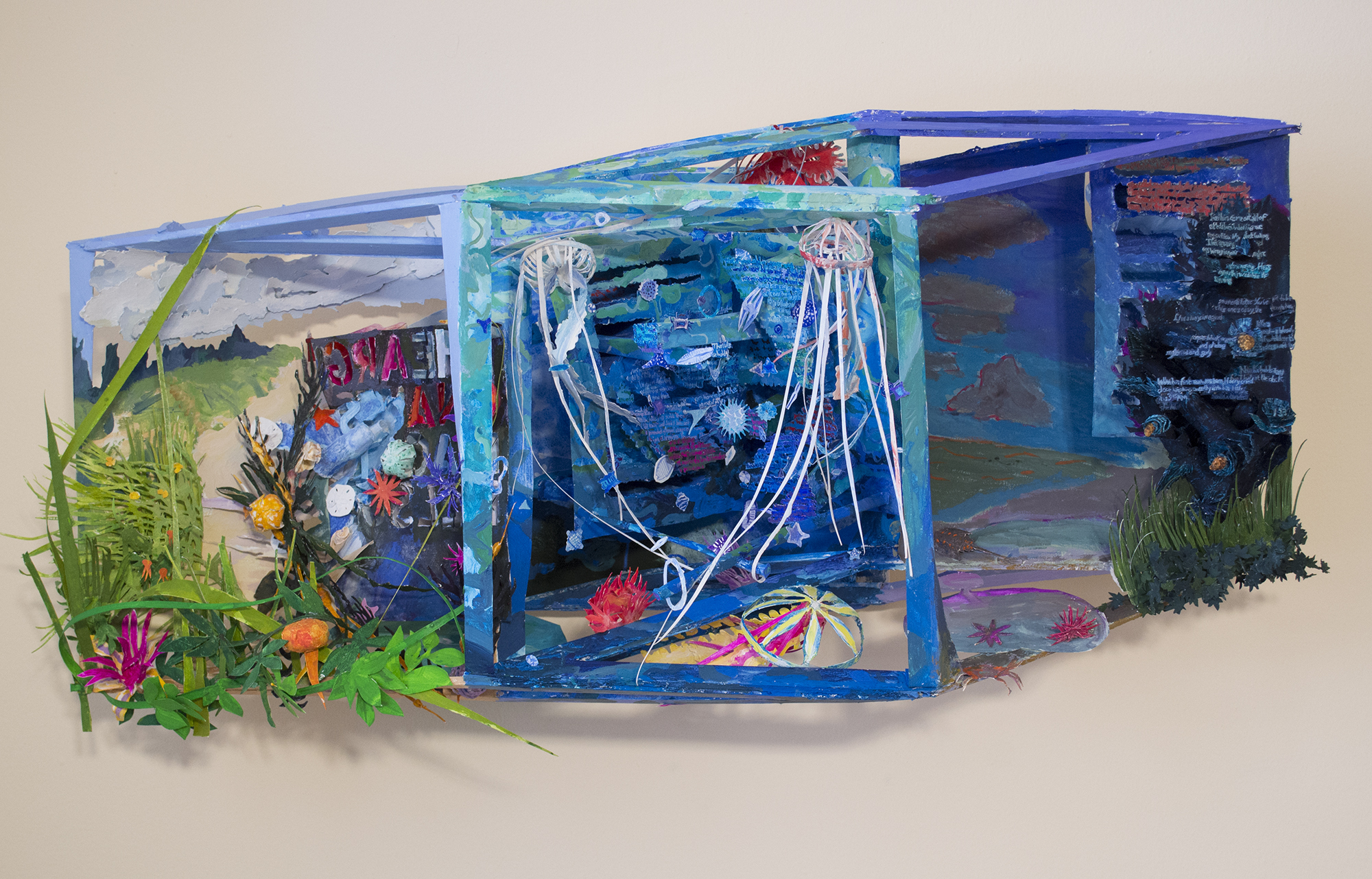 Beach Reading, 2019, gouache on paper construction with wood support, 16 x 38 x 10 inches