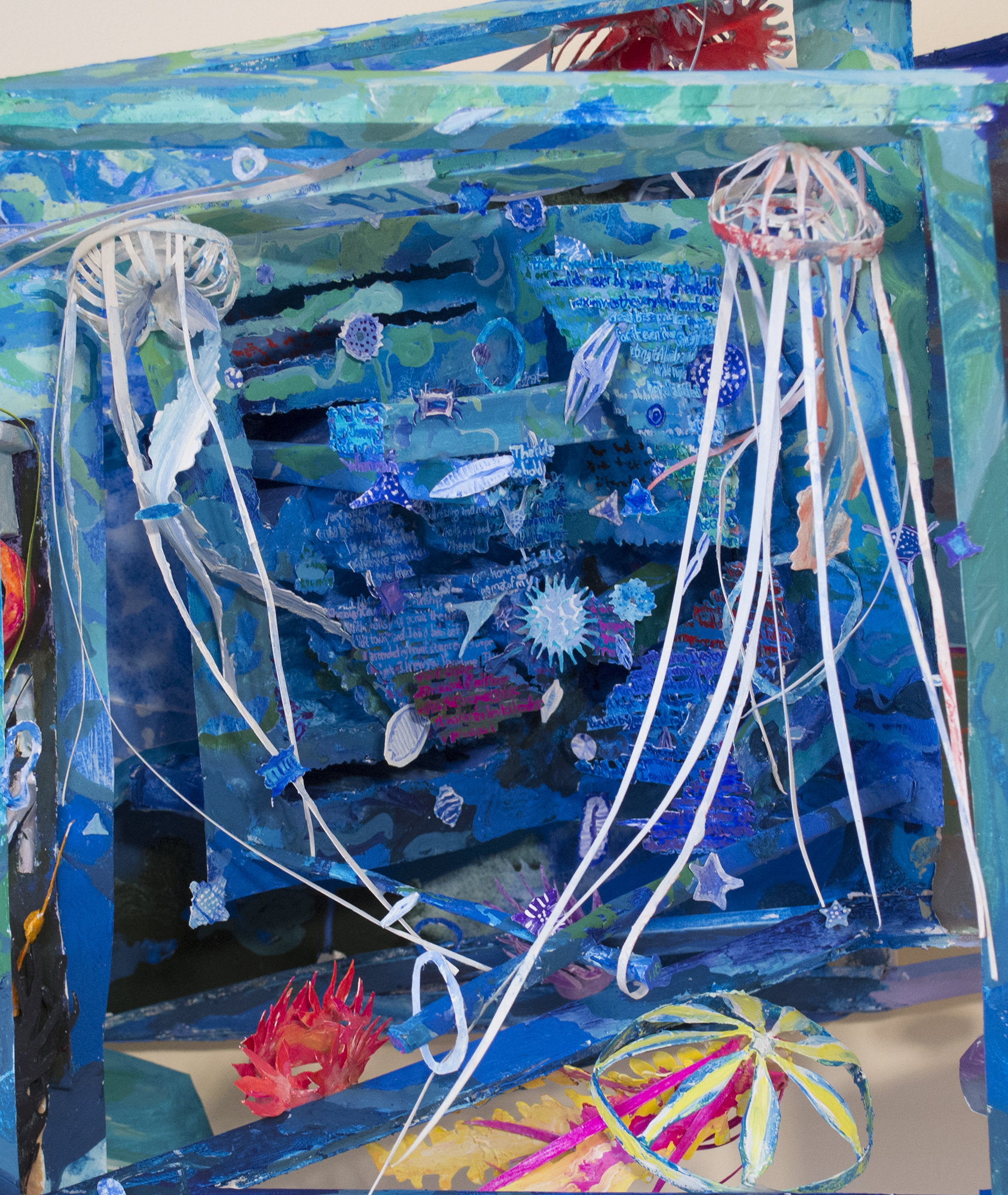 Detail, Beach Reading, 2019, gouache on paper construction with wood support, 16 x 38 x 10 inches
