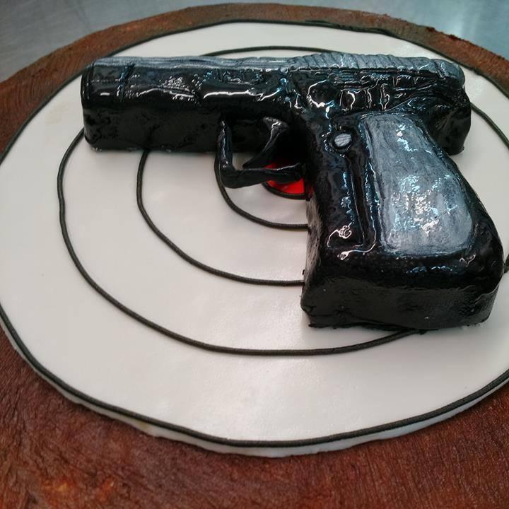 Handgun and Target Cake