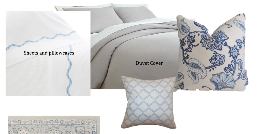 New discounted bedding. Beautiful white sheets with pale blue accent. We added two of the pale blue lattice pillows to the bed instead of the expensive custom pillows.