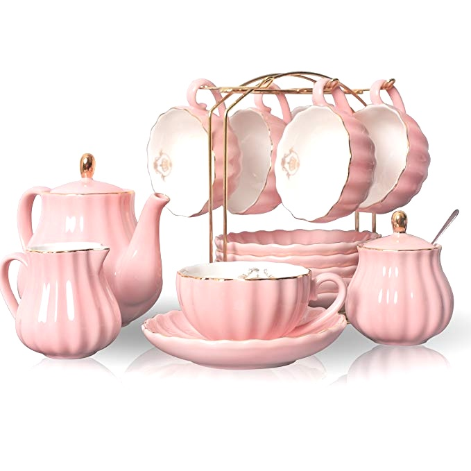 Blush Pink Porcelain Tea set for 6    * Display stand not included