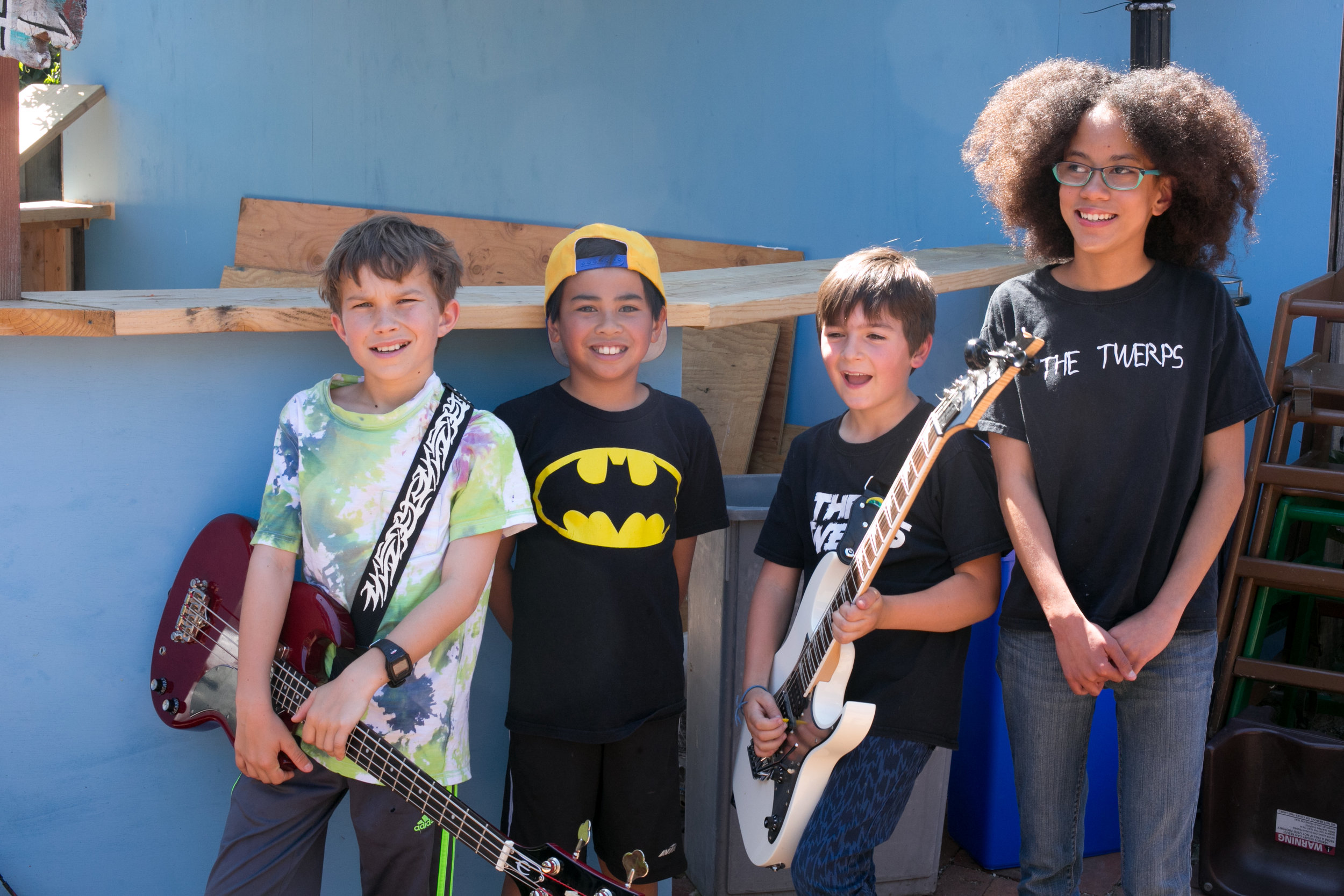The Twerps 4.30.17: (from left to right) Owen on bass, Isaak on drums, Everest on guitar & Maia on voice!