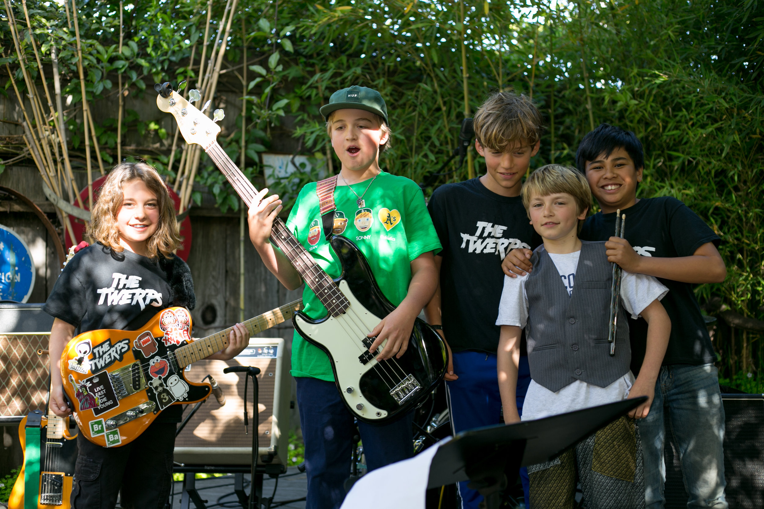 (Pictured above)   The Twerps Band picture at The Crepe Place on 4/22/18  (L-R: Daniel, August, Neli, Marlon & Isak)