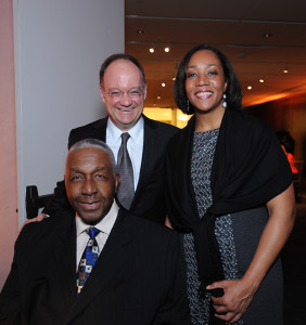 John Thompson Jr., left, poses with last year's award recipient, Lecester Johnson, and Georgetown President John J. DeGioia during last year's celebration at the Kennedy Center for Performing Arts.