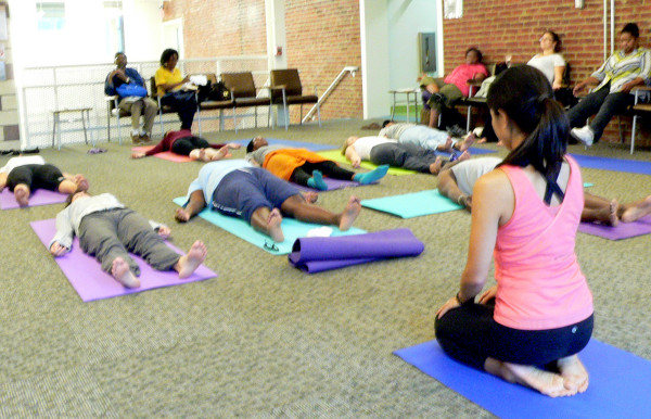 Bread for the City offers yoga for its clients in addition to medical and legal services.