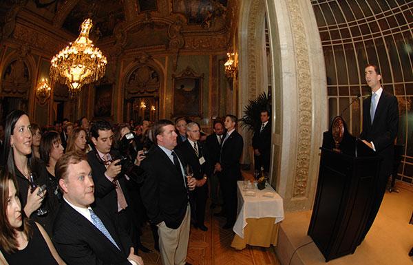 Prince Felipe speaks to fellow alumni during the 2008 John Carroll Weekend in Madrid.